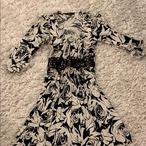 Sky  mini dress with black letter trim on waist